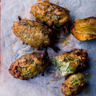 Courgette And Manouri Fritters.