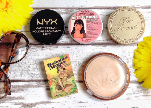 Betty-Lou Manizer, Nyx Matte Bronzer, Thebalm Bahama Mama,Wet nWild Reserve Your Cabana, Too Faced Endless Summer Bronzer