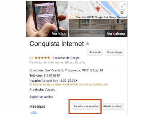 Reseñas Google Conquista internet