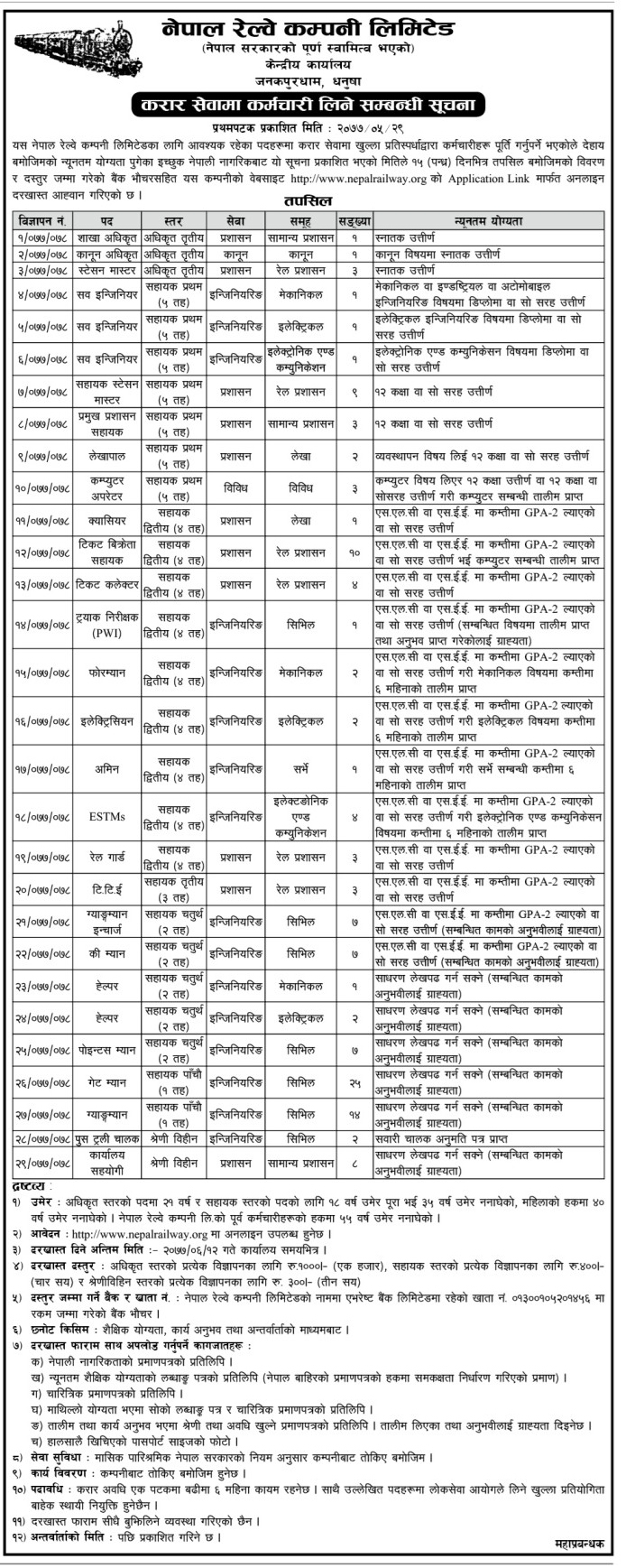 Nepal Railway Company Limited has Demanded Employees for Various Posts