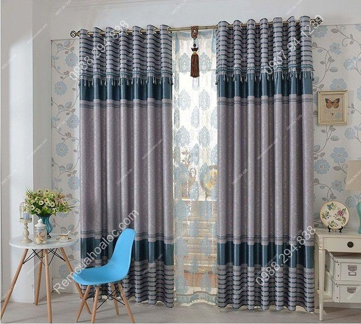 Rèm cửa đẹp cao cấp một màu ghi diềm xanh 10