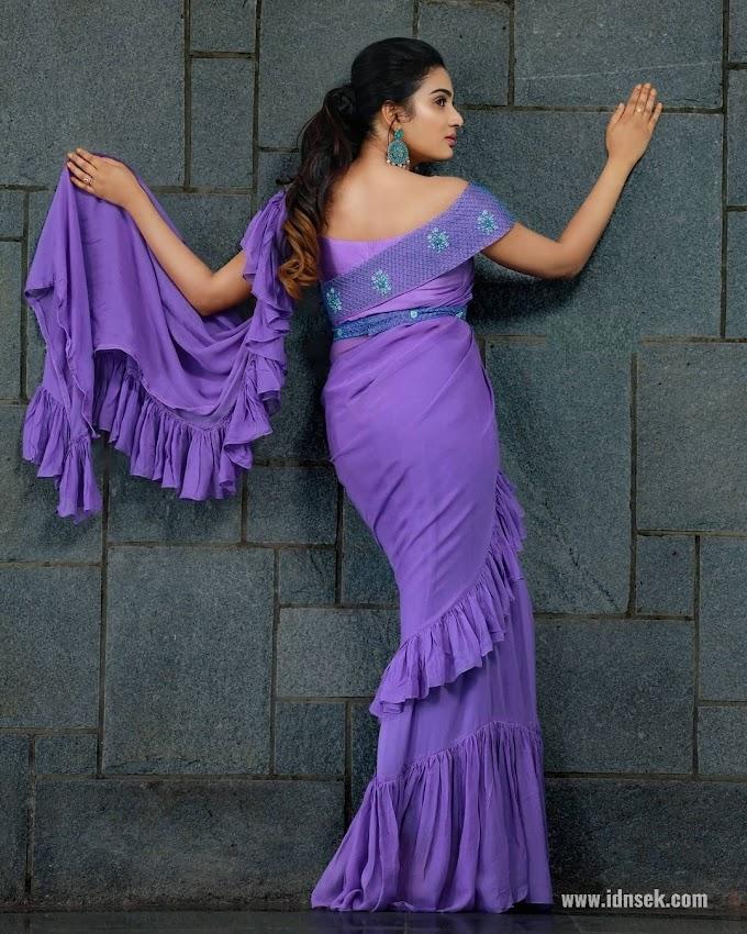 South Indian Actress Aditi Ravi Violet Saree Pics