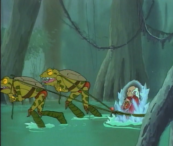 Bullywugs pulling Dungeon Master's frozen corpse through the swamps