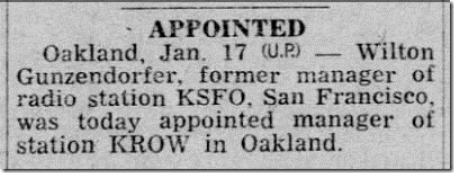 Appointed Manager Santa Cruz Sentinel 18 Jan 1946