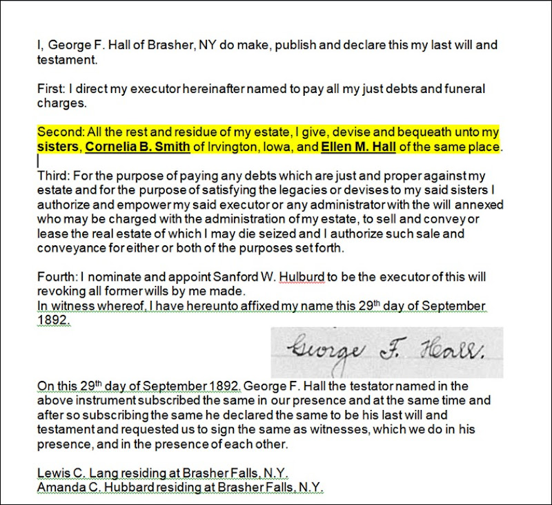 HALL_George F_will transcription_highlighted