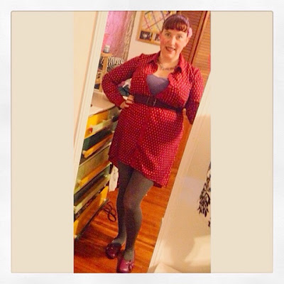 Plus Size Outfit for Work Dark Red Polka Dot Pin Up Style