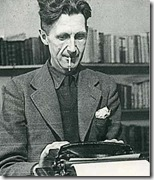 George Orwell at typewriter