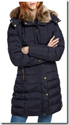 Joules Long Padded Coat with Faux Fur Trim