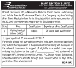 BEL Visiting Medical Officer Jobs 2017 www.indgovtjobs.in