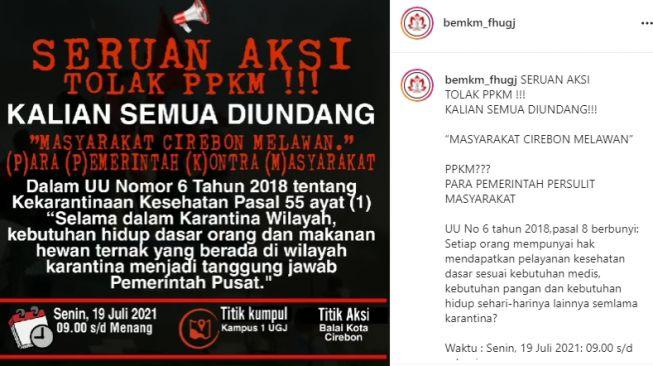 PPKM Darurat Diperpanjang, Mahasiswa UGJ Ajak Rakyat Cirebon Turun ke Jalan