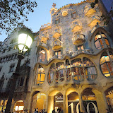 Casa Batllo (House of Bones) by Antoni Gaudi at night. Barcelona