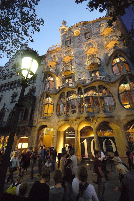 Casa Batllo (House of Bones) by Antoni Gaudi at night. Barcelona