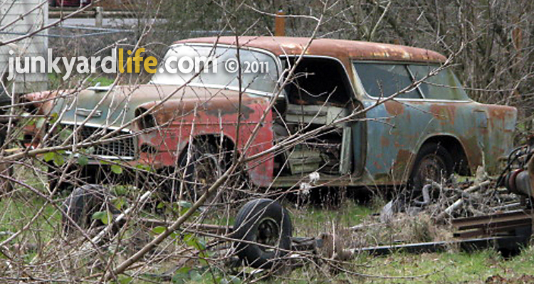 Cars In Yards 1955 Chevy Nomad Two Door on old wrecked 1955 chevy drag car