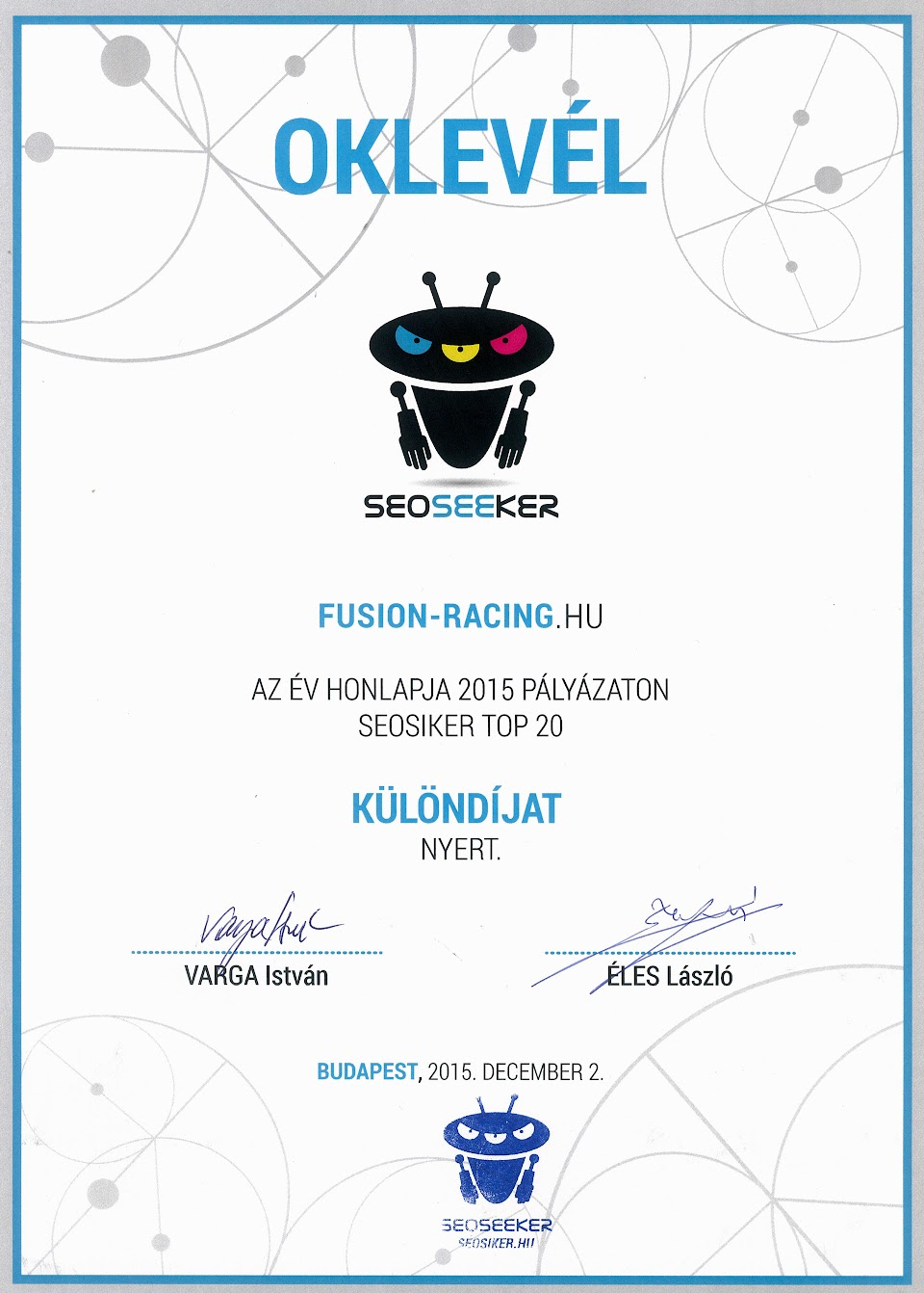 Az Év Honlapja díj SEOSIKER - Fusion Racing