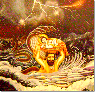[Vasudeva carrying Krishna]