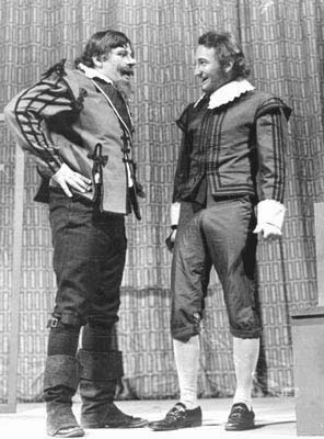 Sir Toby Belch (Vincent Trankina) elicits help from Olivia's servant Fabian (yours truly) in Twelfth Night,Meadowbrook Theater, 1969