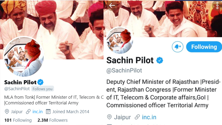 Sachin Pilot changes his bio on Twitter after being removed by Deputy CM and Rajasthan chief KPP