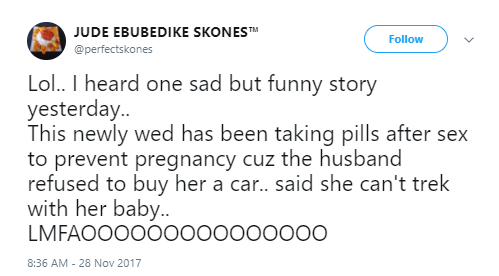 Man Ends Marriage After Discovering His Wife Was Using Birth Control Pills Because He Refused To Buy Her A Car