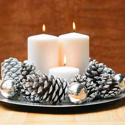 M s y m s manualidades bellos centros de mesa navide os for Centros navidenos con velas