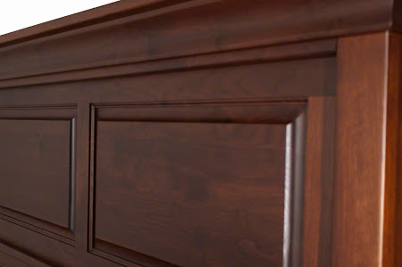 Glasgow Bed Frame in Ruby Walnut, Headboard Closeup