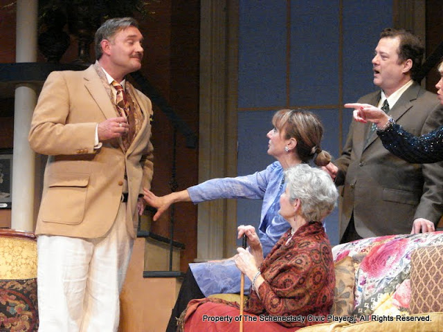 Randy McConnach, Benita Zahn, Joanne Westervelt, Richard Michael Roe and Patricia Hoffman in THE ROYAL FAMILY (R) - December 2011.  Property of The Schenectady Civic Players Theater Archive.