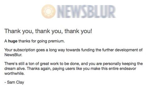NewsBlurプレミアムアカウントメール