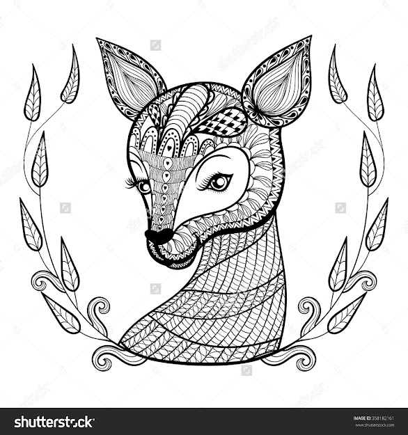 Mandala Deer Coloring Page With Stock Vector Hand Drawn Ethnic Ornamental  Patterned Cute Face In
