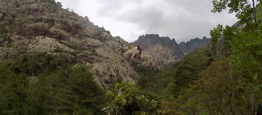 L'amont de la Cavichja dans une trouée de la végétation du sentier