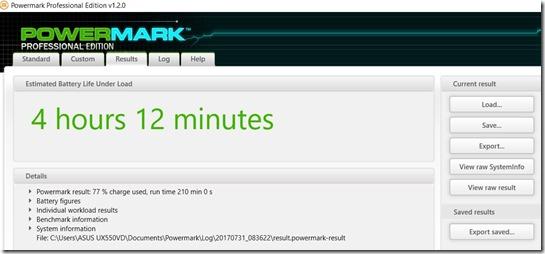 Benchmark PowerMark Asus Zenbook Pro UX550