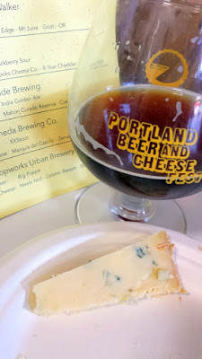 Portland Beer and Cheese Fest 2015, pairing of Hopworks Urban Brewery Big Poppa with Neals Yard Colston Bassett Stilton cow cheese from UK