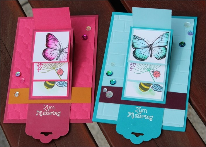 Wasserfallkarte Muttertag Happy Mothers Day Card Stampin Up Butterflies Penned and Painted 02