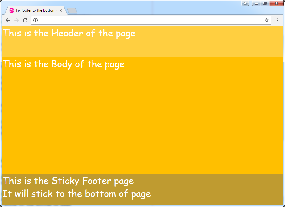 Sticky Footer - Keep Footer at the Bottom of the Page using CSS3