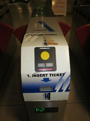 vegas monorail ticket gate stock photo