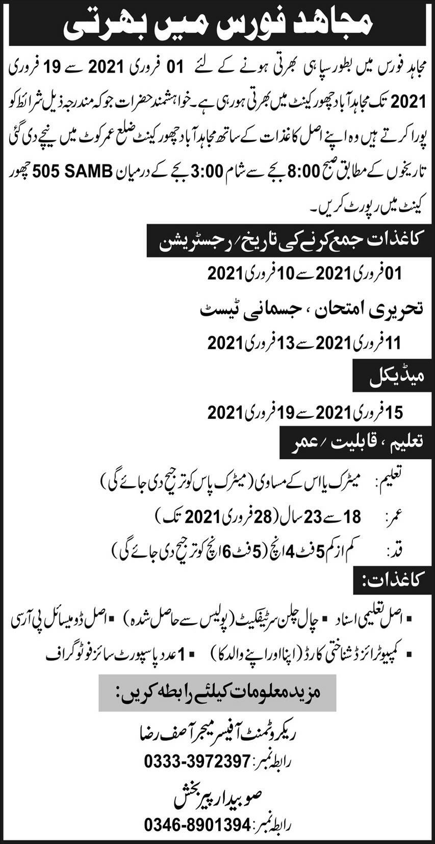 Mujahid Force Jobs 2021