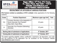 IFCI Factors Vacancy 2017 www.indgovtjobs.in