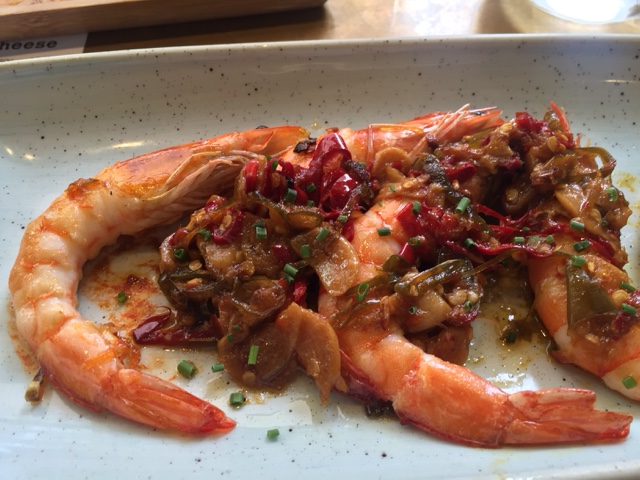 Jose Pizarro Broadgate king prawns with chilli and garlic