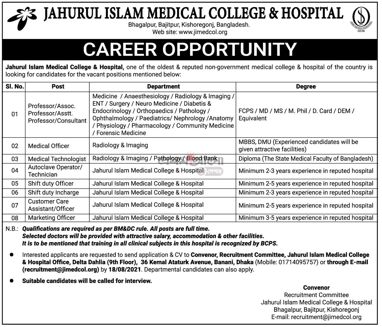 জহুরুল ইসলাম মেডিকেল কলেজে চাকরির বিজ্ঞপ্তি ২০২১ - Jahurul Islam Medical College Job circular 2021 - মেডিকেল কলেজ হাসপাতাল নিয়োগ বিজ্ঞপ্তি ২০২১ - ২০২২