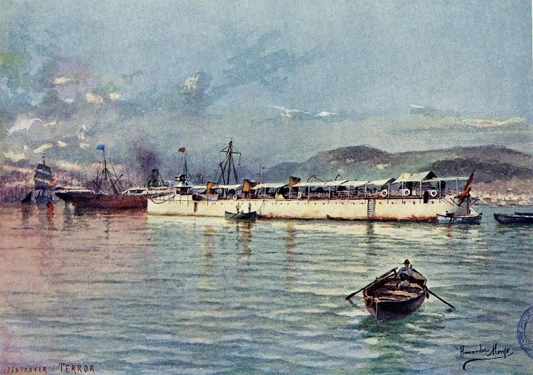 Acuarela del TERROR. Autor Hernandez Monjó. Del libro La Armada Española. Editado en 1898.JPG