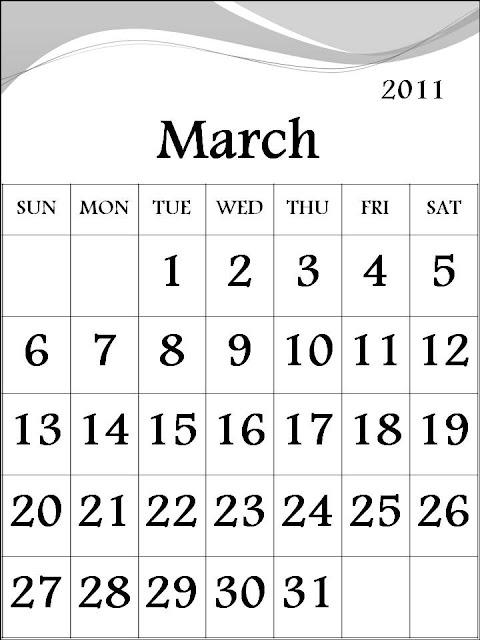 free march 2011 printable calendar. Free Calendar 2011 March