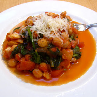 Harissa Spiced Chickpeas With Halloumi And Spinach.