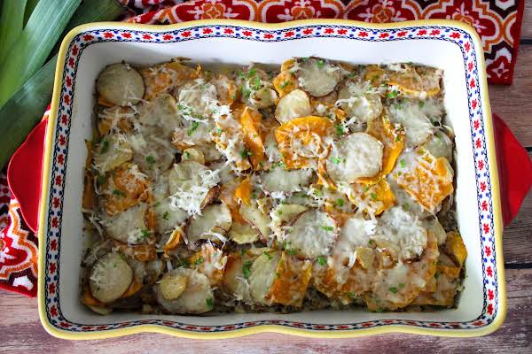 Root Vegetable Gratin Ready To Be Served.