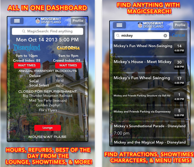 Mousewait Disneyland App (11 Best Apps for Living in LA).