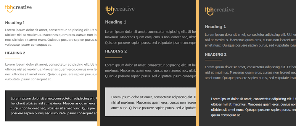 examples of different dark mode & HTML email methods