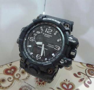 jam tangan G Shock dual time hitam list Putih