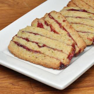 Pistachio Shortbread Cookies with Raspberry Preserves.