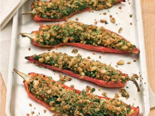 Baked and stuffed Romano peppers