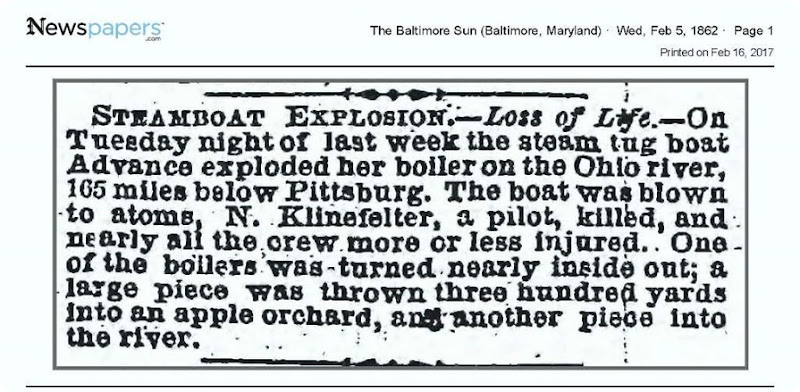 Copy of KLINEFELTER_N_killed in explosion_TheBaltimoreSun_5 Feb 1862_pg 1