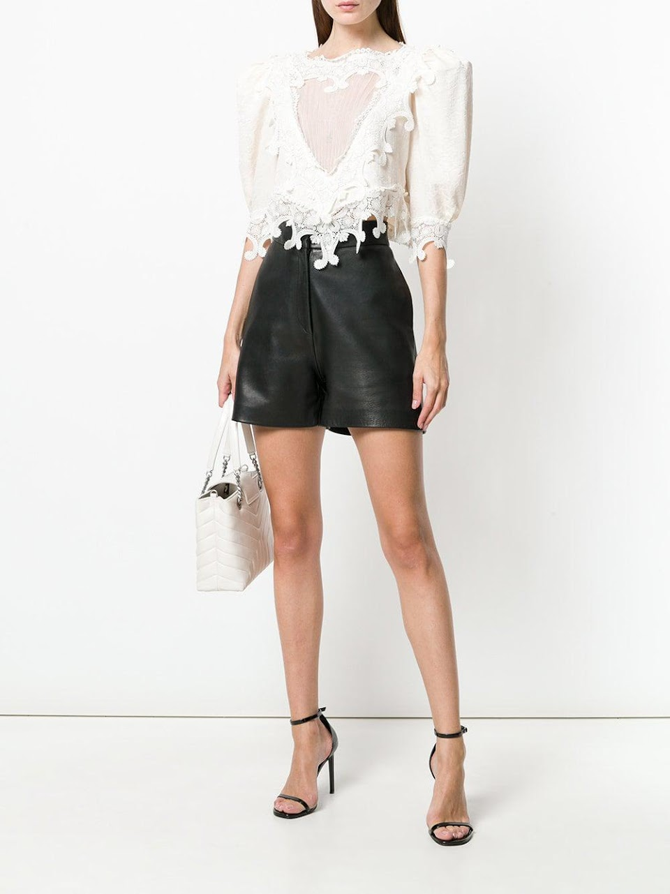 SAINT LAURENT LACE FRONT YOKE BLOUSE 4219