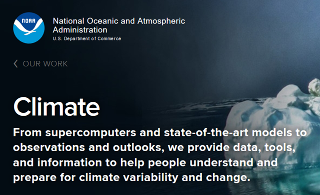 Screenshot of the NOAA climate site. Graphic: NOAA