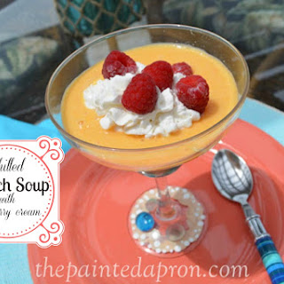Chilled Peach Soup with Raspberry Cream Recipe
